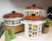 Enamelware Stock Pot Set of 3, Soup Pots