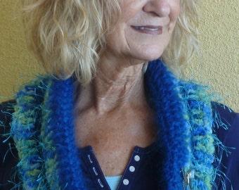 Women Crochet Scarves / Women Fashion / Crochet Infinity Scarf / Blue Winter Neck Wear / Bohemian Accessories / Colorado Clothing