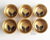6 Butterfly Design Japanese Gold Black Lacquered Wood Condiment Dishes