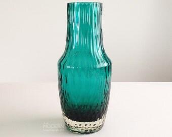 Vintage Riihimaki Blue Green Textured Cased Art Glass Vase