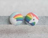 Rainbow Unicorn Fabric Button Clip On Earrings