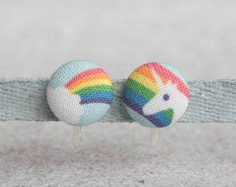 Rainbow Unicorn Fabric Button Clip On Earrings