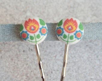 Bohemian, Fabric Covered Button Bobby Pin Pair