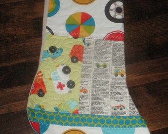 Cars for Sale Quilted Stocking