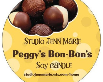 Peggy's Bon-Bon's soy candle chocolate scented 21 oz.
