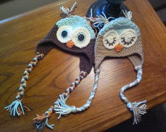 Boys/Girls Handmade Crochet Owl Hat-made to order
