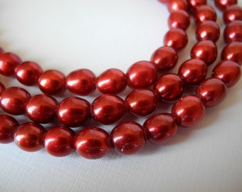 Freshwater Large Hole Rice Pearls Cranberry Red 9mm Half Strand 10 Pieces