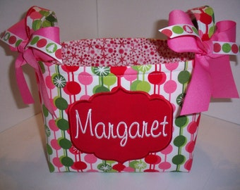 Candy Cane Dots Fabric Christmas Basket / Gift Bag - Pink Red Lime Green Polka Dots - Personalization Available