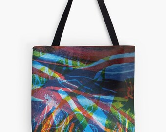 """Abstract River Print Tote Bag - Artist's Mixed Media Painting Design. Two Sizes Available Medium 16"""" and Large 18"""""""