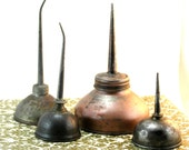 Industrial Metal Oil Cans ~ Set of 4 Antique Brass & Copper Vintage Home Studio