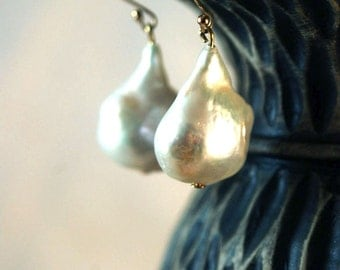 Large White Freshwater Pearl and Vermeil Earring