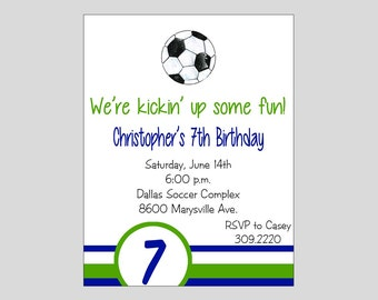 Soccer Invitation Printable ~ Soccer Birthday Invitation ~ You print or WE CAN!