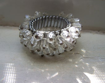 Silver Faceted Crystal Glass Expansion Chacha Bracelet