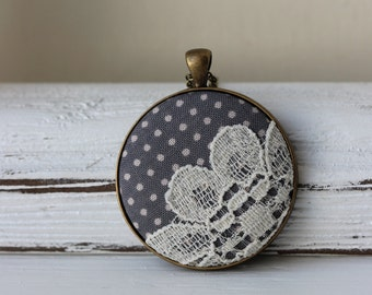 Polka Dots Lace Jewelry, Fabric Necklace, Women Gray Polka Dot Wedding, Cottage Gray Jewelry, Gray Wedding, Gray Bridesmaid Jewelry