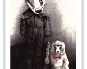Badger and Baboon A3 Print