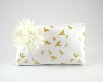 White & Metallic Gold Bird Zipper Clutch with Flower Brooch   Cosmetic or Makeup Bag   Custom Bridesmaid Gift   Design Your Own