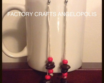 STRAWBERRY RAIN - HaNdMaDe EaRRiNgS WiTh ReaL CoFFee BeAnS