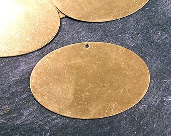 Engravable VINTAGE Brass Stamping Blanks Six (6) BRASS Stamping Blanks Oval 49mm x 32mm with Hole Pendant Brass Jewelry Supplies (F221)