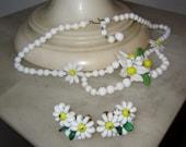 Victorian Milk Glass Flower Necklace & Earrings Set