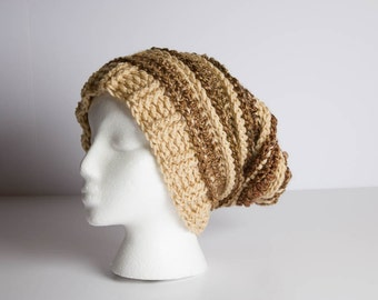 Beanie, Slouchy Beanie, Crochet Beanie, Crochet Shaggy Beanie, Shaggy Hat, Adult Textured Ribbed Rasta, Beret
