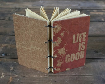 gratitude journal, prayer book, handmade diary, life is good, inspirational quotes, Thanksgiving, hostess gift, pocket sized, purse notebook
