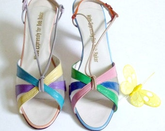 Leather Multicolor Colorblock Shoes Slingback Open Toe Strappy New Old Stock Made Expressly for Bob Baker