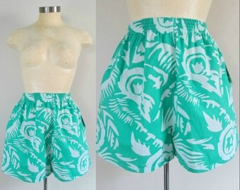 Summer Beach Boxer Shorts New Vintage Deadstock Teal Green White Tribal Print Size Medium