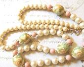 Cloisonne Vintage Necklace Beaded Japan Long Pastel Colors  Vintage Jewelry