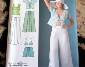 Simplicity Misses' Wrap Pants in Two Lengths or Shorts, Kimono Top, Bra Top and Knit Top Sizes 6 - 8 - 10 - 12 - 14