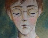 Portrait Painting Original Watercolor  Harry Potter Painting Harry Potter Art Hogwarts Painting Watercolor Portrait