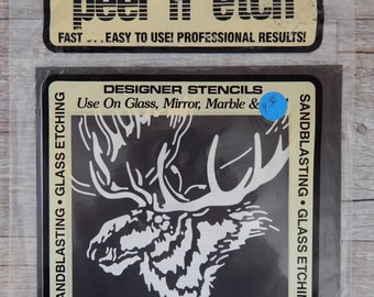 Armour Peel 'N' Etch Designer Stencil Moose Head Glass Supplies