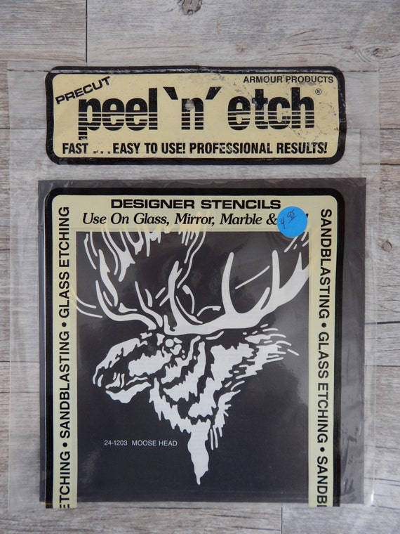 Armour Peel N Etch Designer Stencil Moose Head Glass