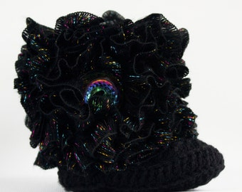 Black With Multicolored Sparkle Ruffle Infant Crochet Boots- Choose Your Size