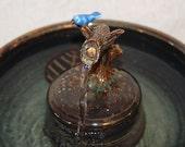 """Cat Fountain - Ceramic Pet Fountain -  Indoor Fountain - 10.5 Inch Diameter - """" Bluebird Zen"""""""