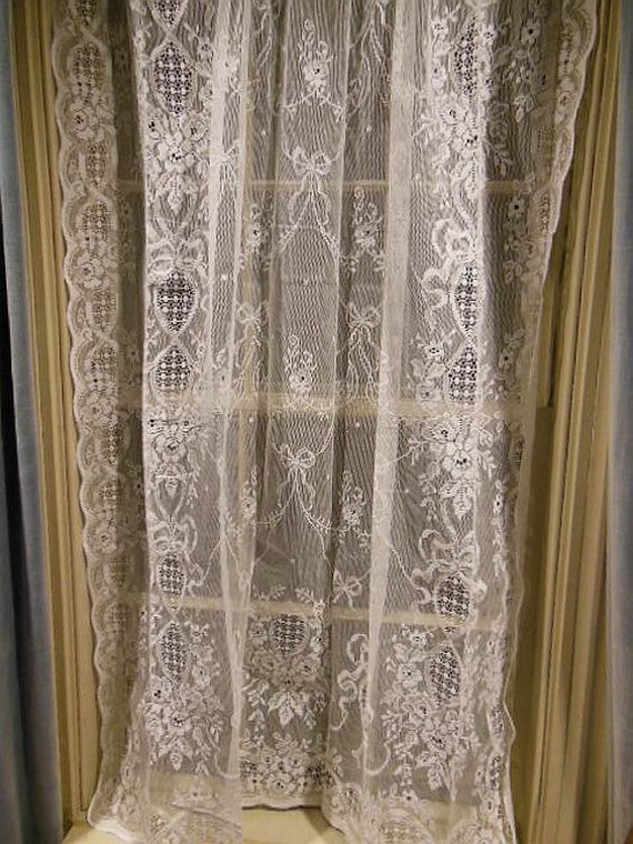 vintage pure white all cotton lace curtain by mermaidsboudoir