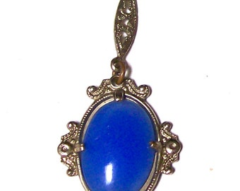 Art DECO Era Sterling CZECH Glass Necklace w/Blue Chalcedon Glass-Y Drop--c1920s