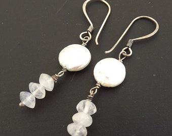Moonstone & Pearl Coin Gemstone Earrings