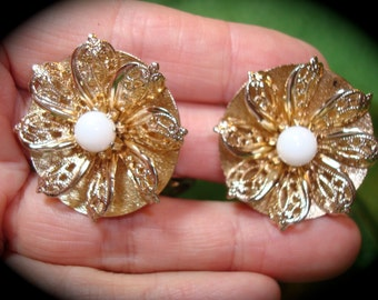 Vintage Golden Flower Earrings with Faux Pearl Center.