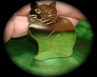 Vintage Solid Brass Large Cat Kitty Pin.