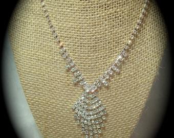 Vintage Rhinestone Dangle Necklace.