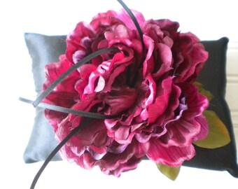 Deep Wine Rose Ring Bearer Pillow