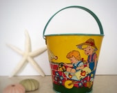 Ohio Art Tin Litho Sand Pail Vintage Beach Sandcastle Toy