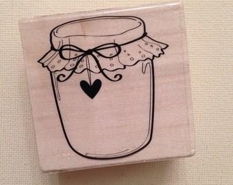 Heart Jar Wood Mounted Rubber Stamp  // Brand New, Cardmaking, Scrapbook Supply