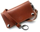Mens Leather Wallet SF Classic Biker Wallet Whiskey Brown Can Be Personalized Gift