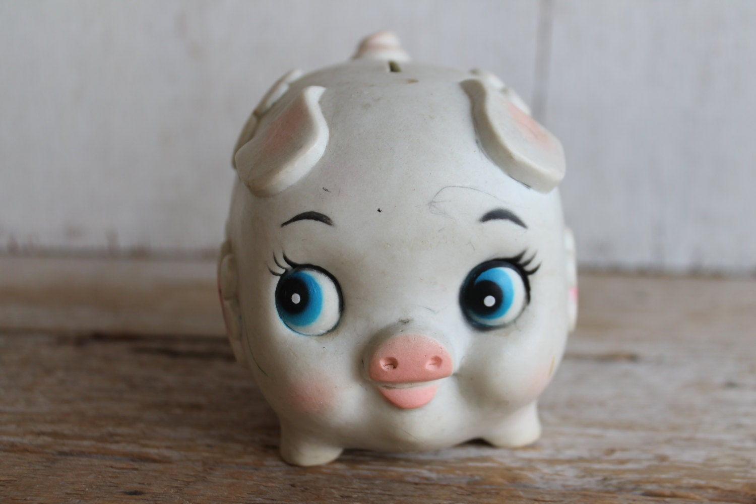 Vintage plastic piggy bank made in taiwan by vintagesilverlining - Resin piggy banks ...