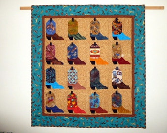 Cowboy boots quilt wallhanging South Western fabrics