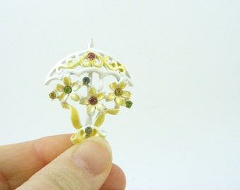 Enamel Umbrella Brooch White Yellow with Rhinestone Flowers and Bow Bridal Baby Shower Pin BJ Beatrix Vintage