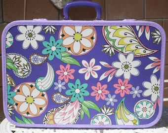 Vintage Upcycled Purple Green Floral Suitcase Luggage Travel Storage by My Cozy Cottage Designs One of a Kind