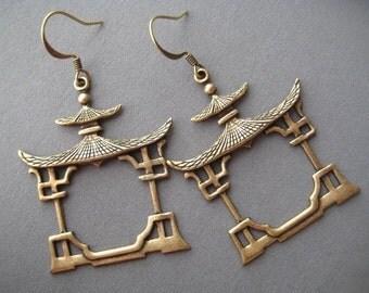 Pagoda Earrings - Asian Jewelry - Buddhist Earrings - Buddhist Jewelry - Tao Jewelry - Spiritual Jewelry - Zen Jewelry - Yoga Jewelry