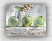 Three Apples - Art Print of Painting - Large Wall Art Print on Wood Block